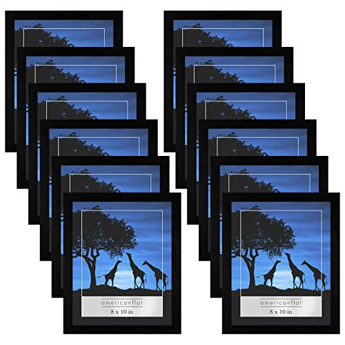 Americanflat 12-Piece Picture Frame Set   Displays 8x10 Inch Photos. Polished Plexiglass. Hanging Hardware Included!