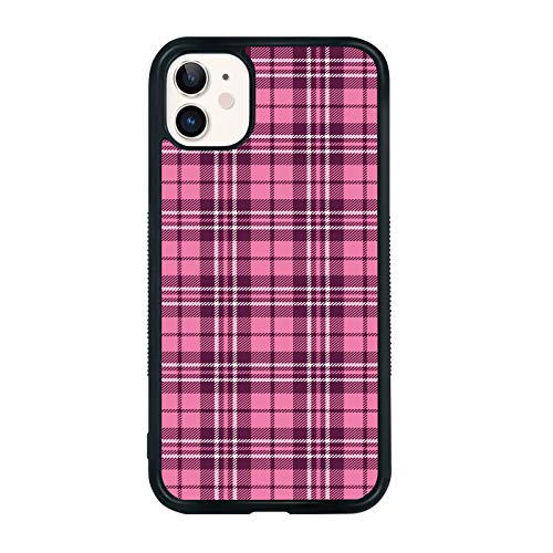 Pink Plaid Phone Case Compatible with iPhone 11 6.1 Inch - Shockproof Protective TPU Aluminum Cute Cool Pink Phone Case Designed for iPhone 11 Case for Boys Girls Teens Women Men Pink Plaid