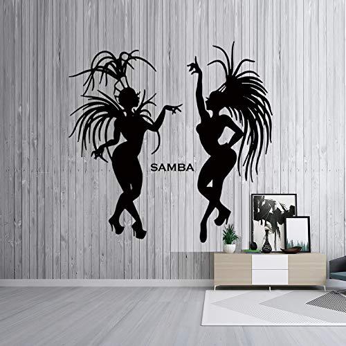 XCSJX Frauen tanzen Samba Wandsticker Brazilian Mardi Gras Day Samba Home Hintergrund Wanddekoration ausgehöhlten Wandaufkleber 80X79CM