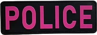 uuKen Large Pink Color PVC Police Patch 8.5