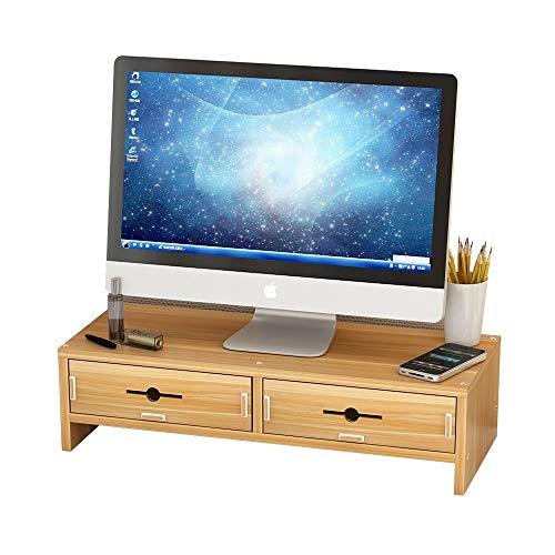 HyxqyxSQZJ Monitorstandaard met opbergvak, desktop-rek-organizer met opbergvak voor toetsenbord, kantoor-computer-bureau, laptop-standaard, desktop-container, eenvoudige installatie, A+