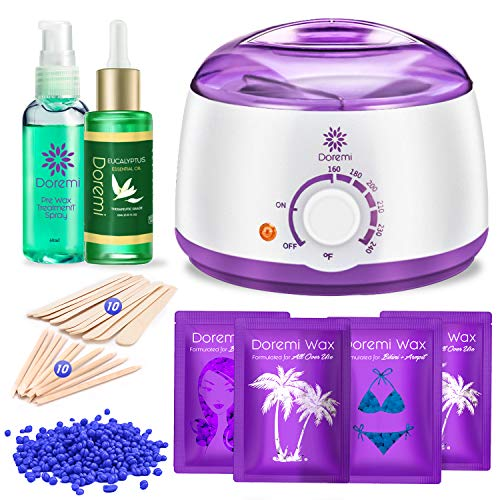 Doremi New Waxing Kit, Painless Hair Removal Home Kit,Multiple Formulas Target Different Type of Bikini, Facial, Armpit,Eyebrows, with Hot Wax Warmer, 4 Hard Wax Beans and 20 Wax Applicator Sticks