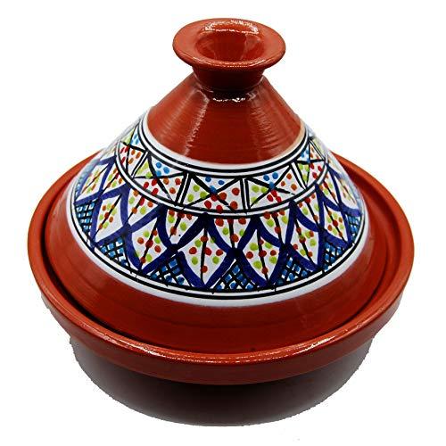 Tajine 3010201120 Topf aus Terrakotta, Teller ethnisch, marokkanisch, Tunesien, M 22 cm