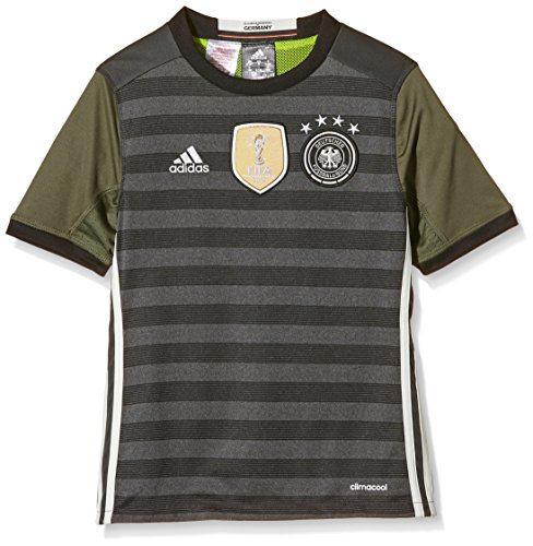 adidas Kinder UEFA EURO 2016 DFB Auswärtstrikot Replica, Gr. 164 (13-14 ans), Grau (Gris - Dark Grey Heather/Off White/Base Green S15)