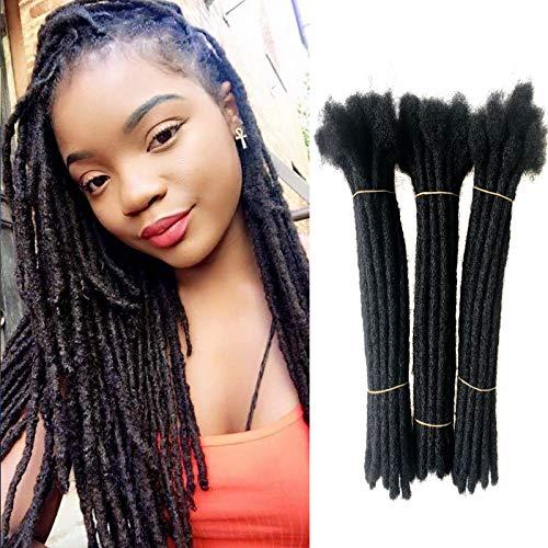 100% Human Hair Permanent Dreadlocks Extensions ,ADIASAI 10 Inch 60 Strands 0.24inch Width Soft Locs Hair Extensions for Man Women Kids, Full Head Handmade Solid Color Jet Black #1B (10 Inch,60 Locs)