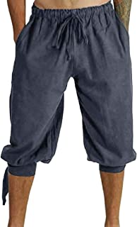 omniscient Men's Loose Summer Linen Harem Capri Yoga Pants Drawstring Short