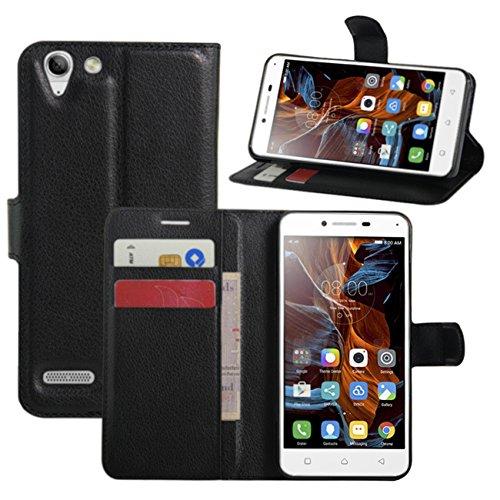 HualuBro - Custodia per Lenovo K5, Lenovo K5 Plus, in pelle PU, con scomparti per carte di credito, per smartphone Lenovo K5/K5 Plus, colore: Nero