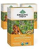Organic India Tulsi Ashwagandha Herbal Tea - Stress Relieving & Balancing, Immune Support, Adaptogen, Vegan, Gluten-Free, USDA Certified Organic, Caffeine-Free - 18 Infusion Bags, 3 Pack