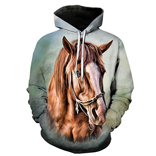 SLYZ Mens Sweater Horse Pattern 3D Printed Sweater Loose Long Sleeve Hoodie Mens Top