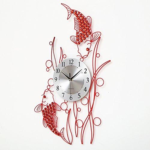 Orologio da parete Stile Cinese Pesce Rosso Orologio al Quarzo Decorazione Camera da Letto Muto Tavolo appendente Mestieri