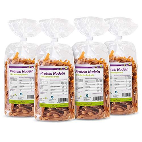 Protein Nudeln - Neue Rezeptur - 61% Eiweiss - Nur 15% Kohlenhydrate - Eiweiß Pasta - Premium Qualität (4 x 250g)