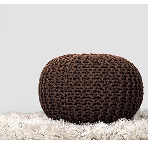 RAJRANG BRINGING RAJASTHAN TO YOU Cylindrical Round Floor Pouf - Indian Cotton Cord Wrapped Ottoman Footstool Home Decorative Seating Bean Bag - Brown - 20 x 14 Inches