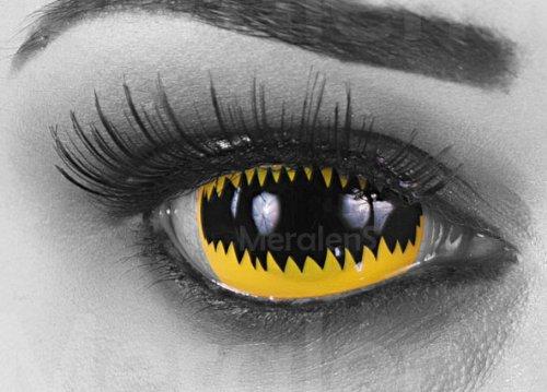 EIN PAAR Farbige Sclera Kontaktlinsen 22 mm Durchmesser! 'Jaws Yellow' Kontaktlinsen mit gratis Linsenbehälter und Kombilösung. Perfekt für Fasching!