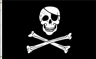 ZOOYOO 3x5 FT Jolly Roger Flag -Fading Materials - Bright Colors Anti-Pirate Flags Polyester Canvas Brass Buttonhole