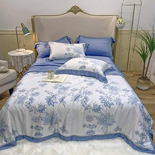 Lowest Price! Reversible Printed Quilt,Silk Blanket,Lightweight Smooth Soft Duvet Machine Washable Bedding for Chair Couch Picnic Blue C 4pcs-200x230cm(78.7×90.6inch)