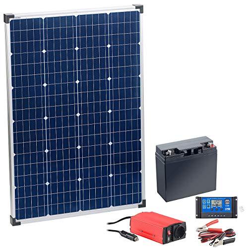 reVolt Solaranlagen: Solarpanel (110 W) mit Blei-Akku, Laderegler & Wechselrichter (Inselanlage)