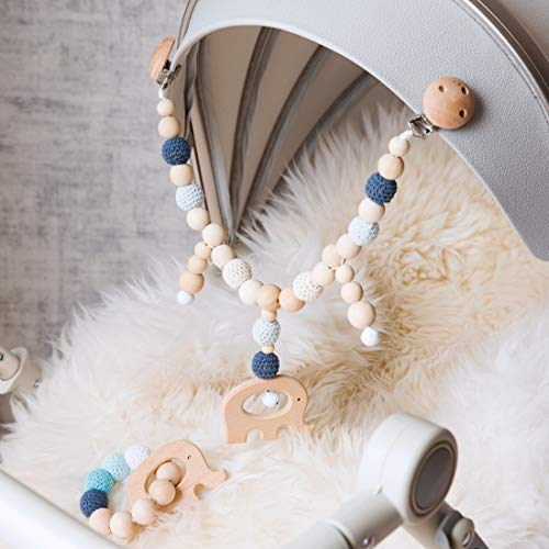 Mamimami Home 2pc Bébé Jouet En Bois Éléphant Landau Chaîne Liens Clip Sur Landau Poussette Mastic Silicone Bracelet Baby Shower Gifts