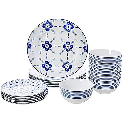 Juego de vajilla de porcelana, 18 piezas, color blanco y azul