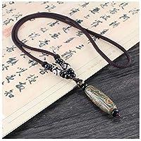 KJFUN Nine Eye Tibet Dzi Anhänger Drop Choker Nacklace Stein Materialien Tibet Heaven Bead Unisex