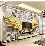 hhlwl Wandtapete 3D goldenen Engelsflügel Mosaik Stein Textur Foto Tapeten Wohnzimmer TV Sofa Hintergrund Wand 3 D-400cmx280cm