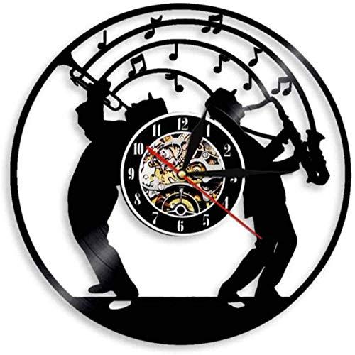 TIANZly Jazz Music Art Vinyl Disco Reloj de Pared luz, Adecuado para Amantes de la música músicos saxofón Colgante de Pared Arte decoración Reloj Jazz Band