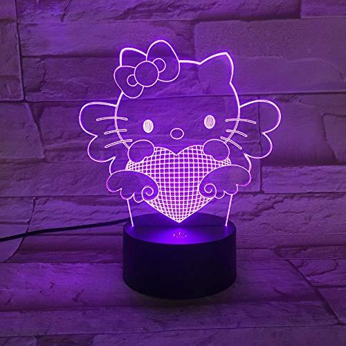 Dekoratives Tischlampen-Nachtlicht Der Stereovisionslicht Led-Steigung 3D Der Hellokitty-Katze Buntes