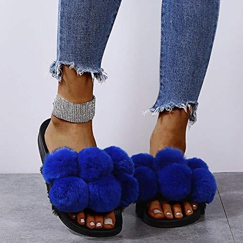 Zquest Sandalias de Mujer, Bolas de Lana de Colores y Zapatillas de Lana, Zapatillas de algodón de Talla Grande para Mujer-Blue_41