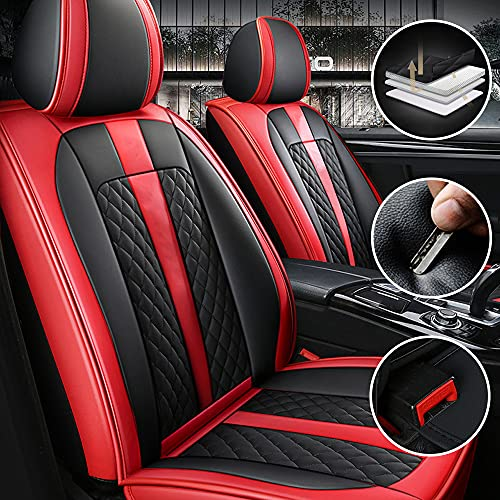 Qiaodi Funda Asiento Coche para BMW 1 2 3 4 5 6 7 Series X1 X2 X3 X4 X5 X5M X6 X6M I3 I8 Z4 M1 M3 M4 M5 M6 2 Asientos Delanteros Impermeables Cuero Protector para Asientos (Negro Rojo)