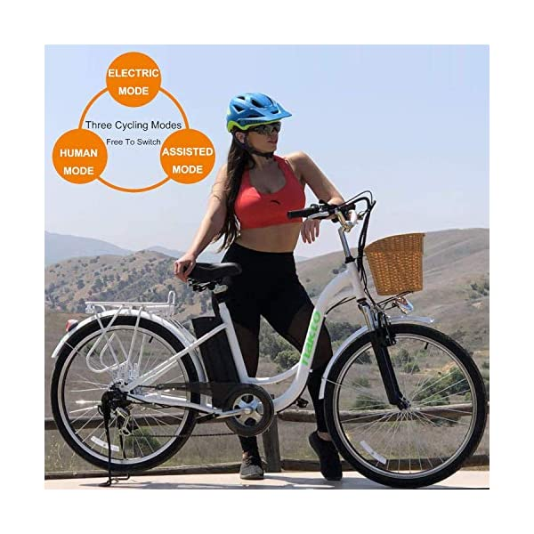 NAKTO 26 250W Cargo Electric Bicycle with rider