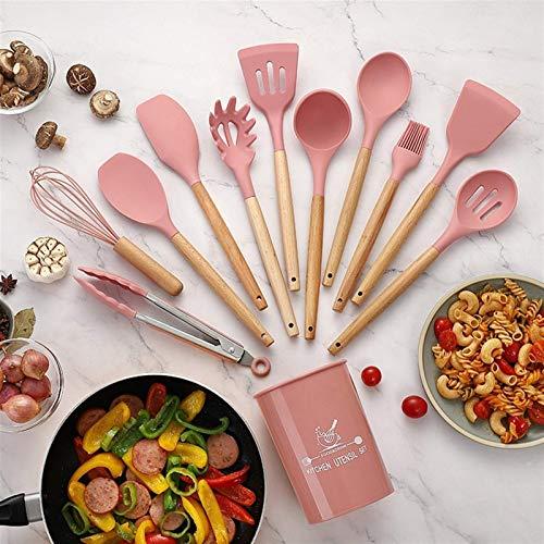Juego de 12 utensilios de cocina de silicona antiadherente, pala mango de madera, juego de herramientas de cocina con caja de almacenamiento, utensilios de cocina (color, negro), mármol (color: rosa)