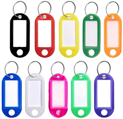 Key Tags Key Ring Tag Key Label Key Chain Tag as Key Fobs Luggage Pet Name Memory Stick Tags 10 Colors 50 Packs