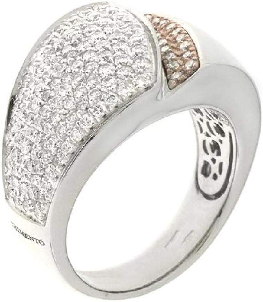 Chimento,anello a fascia per donna, in oro bianco e oro rosa 18 kt(12,3 gr) e diamanti 0,88 ct 1A07154BB7140