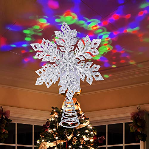 Ywlake Christmas Tree Topper Lights, LED Light Up Lighted Snowflake Christmas Top Topper Projecter with Projection for Indoor Outdoor Christma Tree Decor Decorations (Metal, Silver)