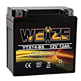 Weize YTX14 BS ATV Battery High Performance - Maintenance Free - Sealed AGM YTX14-BS Motorcycle Battery compatible with Honda Suzuki Kawasaki Yamaha scooter snowmobile