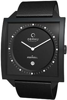 ساعة اوباكو للرجال V116UBBRB اسود جلد العجل كوارتز بمينا اسود