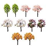 Milopon 10x Mini Gartendeko Micro Landschaft Deko Miniatur Baum aus Harz für Puppenhaus Puppenhausmöbel Gartenmöbel Deko Garten (10x Baum)