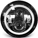 7 inch LED Headlight Round Amber White Angel Eyes 7 inch Motorcycle led headlight DOT E-MARK Approved Hi/lo Beam and 6000K/3500K DRL lamp Halo, UNISHINE J003T-1pc