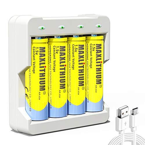 Baterías AA recargables iones de litio, voltaje constante de 1.5V, 4 unidades con cargador
