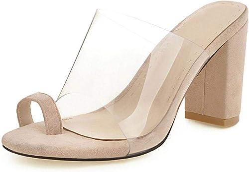 damen Sexy Slip On Open Toe Sandalias Formal De Boda Tacones Altos Transparente Clip Top
