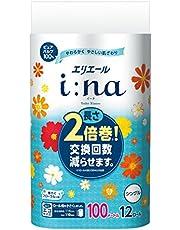 エリエール イーナ トイレットペーパー 2倍巻き 100m×12ロール シングル パルプ100% 華やぐフローラルの香り