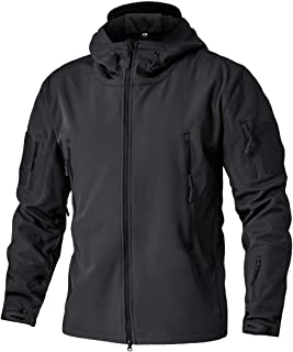 TACVASEN Men's Military Softshell Tactical Jacket Hooded Fleece Coat