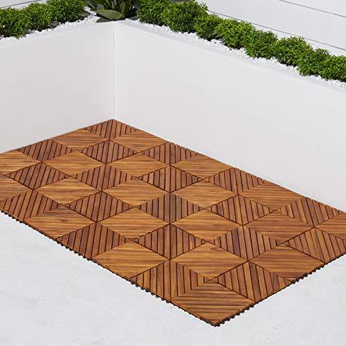 VIFAH V368 12-Slat Acacia Hardwood Interlocking Deck Tile, Teak Finish, Pack of 10 Tiles