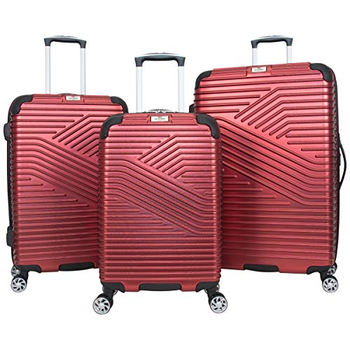 Ben Sherman Bangor 3-Piece Lightweight Hardside PET 8-Wheel Spinner Expandable Luggage Set; 20' Carry-On, 24', & 28' Suitcase Set, Warm Red