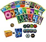 Pokemon Starter Bundle: 5 Holo Energies, 45 Energies, 1 Pokemon Coin, and 10 Custom Status Effect Counters - Guaranteed Authentic Pokemon Cards - Includes Golden Groundhog Treasure Chest Storage Box!