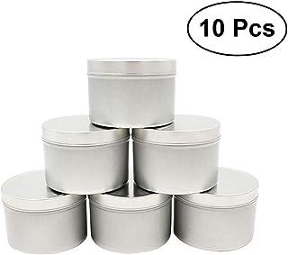 OUNONA 缶ケース 蓋付き パーツボックス 小分け容器 スチール 保存缶 茶入れ アクセサリー収納 10個セット 5x8cm