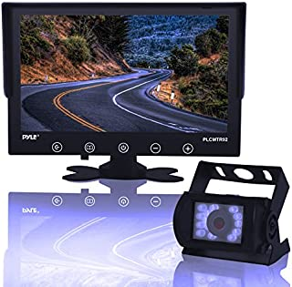 Backup Rearview Camera Monitor System - Car Truck Reverse Parking Waterproof Monitor Kit w/ 9 LCD Display Monitor, Night Vision, Anti-Glare, for Truck, Trailer, Vans, DC 12-24V - Pyle,
