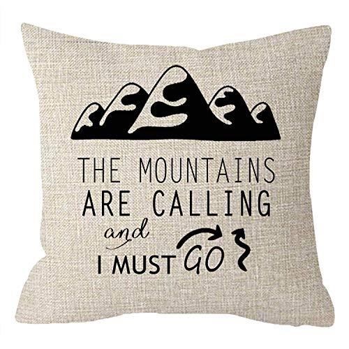 Elsaone Kissenbezug Genießen Sie Urlaub Entdecken Sie Abenteuer Die Berge rufen und ich muss gehen Baumwolle Kissenbezug für Schlafsofa Standgröße Kissenbezug 18x18 Zoll 45x45 cm