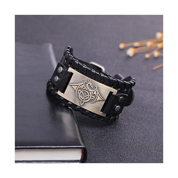 TEAMER Celtic Trinity Knot Leather Bracelet for Men 2