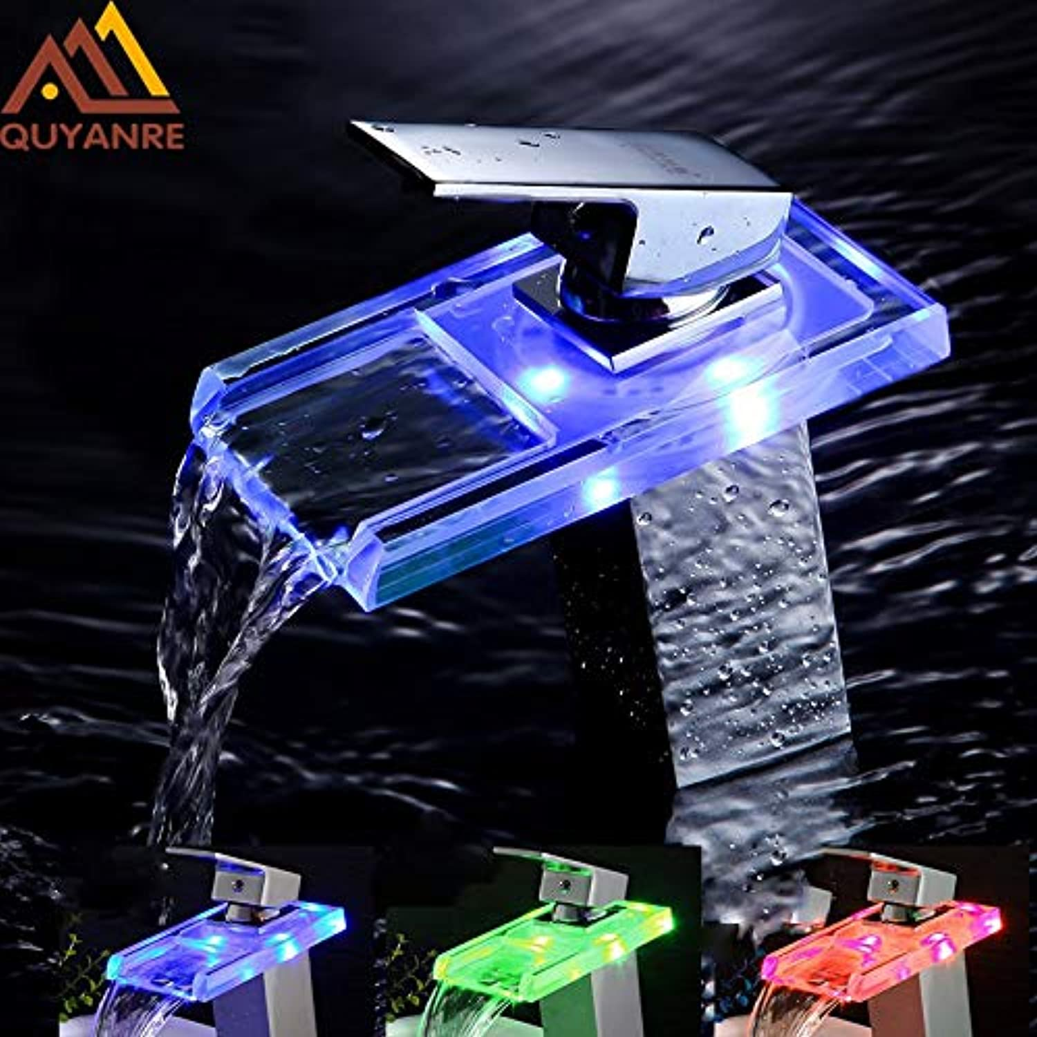 U-Enjoy Chandelier Luxury Glass Chrome Led Basin Top Quality Faucet Waterfall Crystal Type Handle color Changing Bathroom Led Battery Mixer Tap Free Shipping