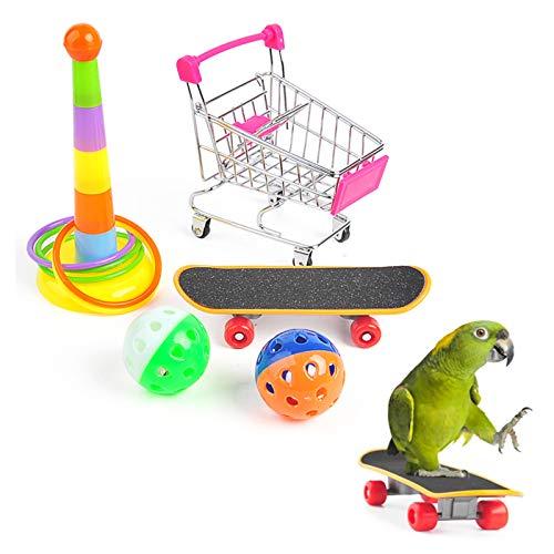 Papageienspielzeug Vogelspielzeug Papageien Intelligenzspielzeug mit Mini Einkaufswagen Papagei Trainingsringe Vogel Skateboard und Glockenkugeln für Wellensittich Sittich 5 Stück (Zufällige Farbe)